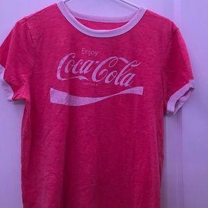 light red Coca-Cola ringer tee